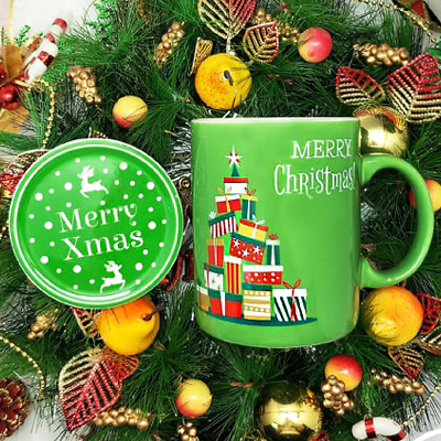 Christmas SC800NB Green - Christmas Ceramic Mug Green Set with Special Box