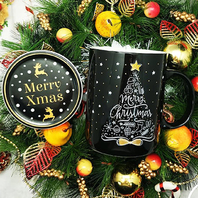 Christmas SC800NB Black - Christmas Ceramic Mug Black Set with Special Box